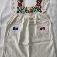 【3-4歳サイズ】花柄刺繍のコットンワンピース