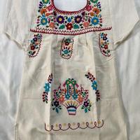 【1-2歳サイズ】キッズ メキシカン刺繍のワンピース(コットン生成り) 05