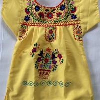 【1-2歳サイズ】キッズ メキシカン刺繍のワンピース(黄色)