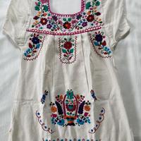 【3-4歳サイズ】キッズ メキシカン刺繍のワンピース(コットン生成り)