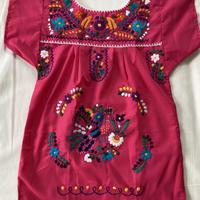 【5-6歳サイズ】キッズ メキシカン刺繍のワンピース(ピンク)