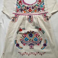 【3-4歳サイズ】キッズ メキシカン刺繍のワンピース(コットン生成り) 001