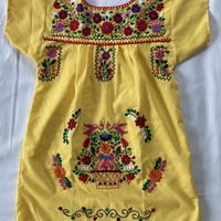 【5-6歳サイズ】キッズ メキシカン刺繍のワンピース(黄色)