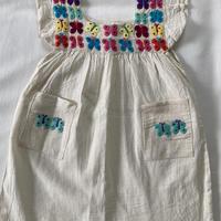 【1-2歳サイズ】ちょうちょ刺繍のコットンワンピース