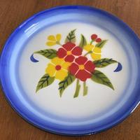 タイの花柄ホーロートレイ(青)