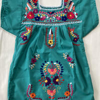【3-4歳サイズ】キッズ メキシカン刺繍のワンピース(ライトグリーン)