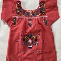 【1-2歳サイズ】キッズ メキシカン刺繍のワンピース(ピンク)