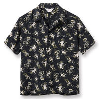 """STAR OF HOLLYWOOD / HIGH DENSITY RAYON OPEN SHIRT """"FANCY CATS"""" (BLACK)"""