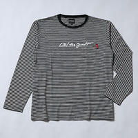 "Oh!theGuilt | ""SCRIPT LOGO""WOOL BLEND POCKET BORDER L/S T-SHIRT(ブラック/ホワイト)"