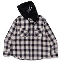 XLARGE| L/S HOODED FLANNEL CHECK SHIRT(BLACK)