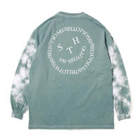 SAYHELLO / Face Logo Sleeve Dyed L/S Tee (Green Grey)