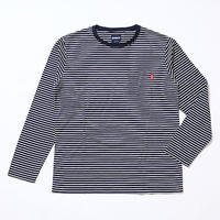 Oh!theGuilt:LYOCELL BORDER POCKET L/S T-SHIRT(ネイビー/ホワイト)