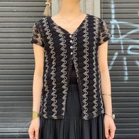 編み シースルー 半袖羽織り