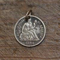 1884年 アメリカ1ダイムコイン ペンダントトップ