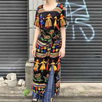 〜80's 巻きスカート風 レーヨンワンピース