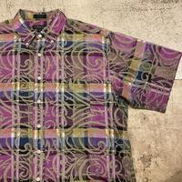 チェック×柄 半袖シャツ