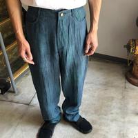 【USED】リネン100% ムラ染めパンツ blue
