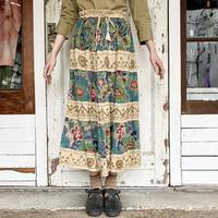 刺繍 × 切替 レーヨンスカート