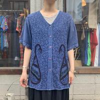 インドレーヨン刺繍 ノーカラー 半袖シャツ
