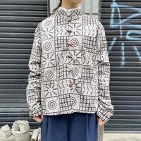 幾何学柄シャツジャケット