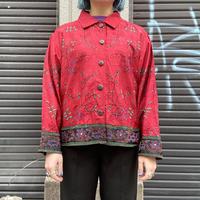 シルク 花刺繍シャツ
