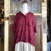 花柄オープンカラー半袖シャツ