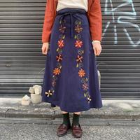 フラワー 刺繍 ラップスカート