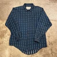 織り柄コットンシャツ