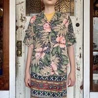 アメリカ製 アロハ×ゼブラ柄 オープンカラーシャツ