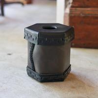 EATABLE Toilet Roll Split Leather Box Black × 柿渋