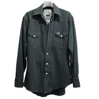 WESTERN CUTTING EMBROIDERY SHIRT -USED DENIM BLACK DYED-
