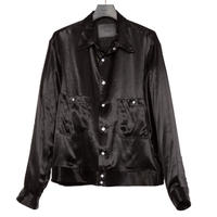 BOX RIB SHIRT JACKET -RAYON SATIN-