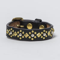 15mm STUDS BELT -flower- (BLACK)