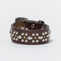 25mm STUDS BELT -flower-1- (CHOCO)