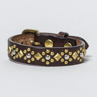 15mm STUDS BELT -flower- (CHOCO)