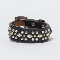 25mm STUDS BELT -flower-1- (BLACK)