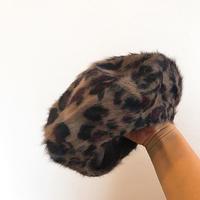 レオパード柄モヘアニットベレー帽
