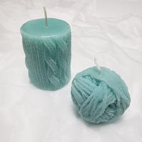 Winter knit candle BLUE