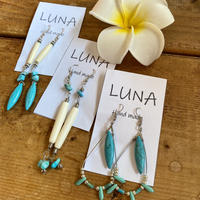 Bone&turquoise pierce by Luna