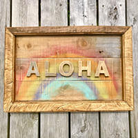 wood aloha rainbow flame