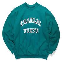 THE CHARLIE TOKYO COLLEGE LOGO SWEATSHIRT (TURQUOISE × NAVY)