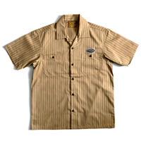 【CHRM】ストライプワークシャツ/オーカーブラウン