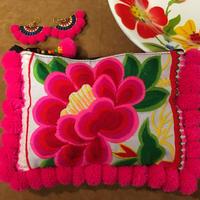 ポンポン刺繍ポーチ ピンク×ホワイト エスニック boho  モン族