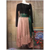 size M ドットドレープスカート ティアード 巻きスカート サーモンピンク