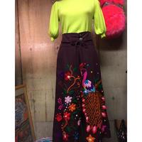 サイズM〜L   刺繍ワイドパンツ パープル boho