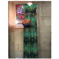 size M  プリントロングドレス グリーン boho  hippie  ボヘミアンスタイル エスニック