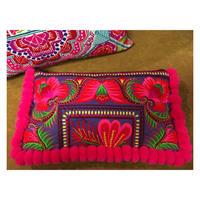 ポンポン刺繍クラッチバッグ大 ピンク×パープル boho hippie  エスニック モン族