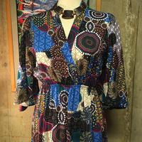 sizeM bohoロングドレス ボヘミアン ブルー系  hippie 70's 60's