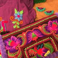 ポンポン刺繍ポーチ 大 パープル系 boho hippie ボヘミアン ヒッピー モン族
