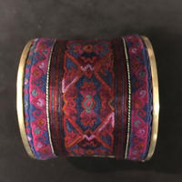 ミャオ族 バングル アンティーク刺繍布 パープル シルバー ボヘミアンアクセサリー ヒッピー エスニック boho hippie ethnic